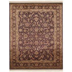 Asian Hand-knotted Royal Kerman Purple Wool Rug (5' x 7')