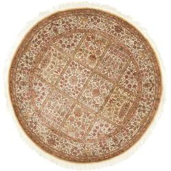 Asian Hand-knotted Royal Kerman Ivory Wool Rug (8' Round)