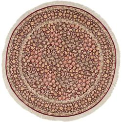 Asian Hand-knotted Royal Kerman Red Wool Rug (8' Round)