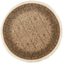 Asian Hand-knotted Royal Kerman Ivory and Red Wool Rug (8' Round)