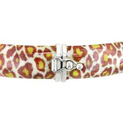 Sterling Silver Leopard Animal-Print Bangle Bracelet - Thumbnail 1