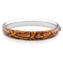 Sterling Silver Brown Snake-Print Bangle Bracelet