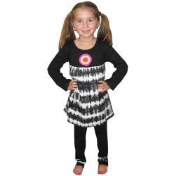 AnnLoren Girl's Tie-dye Baby Doll 2-piece Top and Pant Set - Thumbnail 1