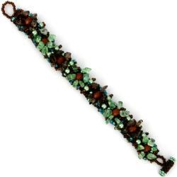 Isabela Timberland Glass and Crystal Muse Bracelet (Guatemala)