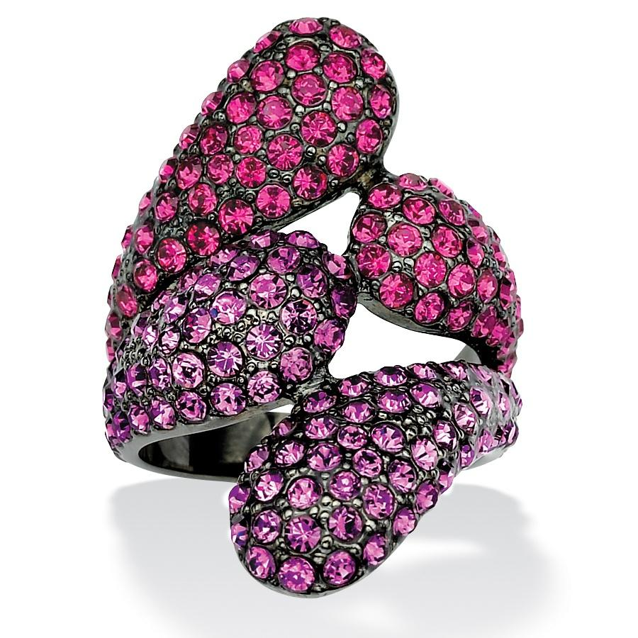 Lillith Star Black Ruthenium Pink and Purple Crystal Bypass Ring