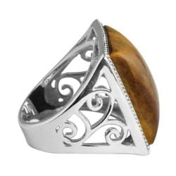 Angelina D'Andrea Sterling Silver Emerald-cut Tiger's Eye Cabochon Cutout Ring
