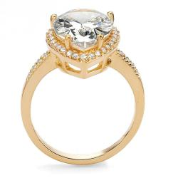 Ultimate CZ 18k Gold over Silver Pear and Round Cubic Zirconia Ring - Thumbnail 1