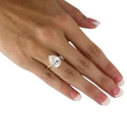 Ultimate CZ 18k Gold over Silver Pear and Round Cubic Zirconia Ring - Thumbnail 2