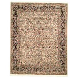 Asian Hand-Knotted Royal Kerman Ivory and Green Wool Area Rug (6' x 9')