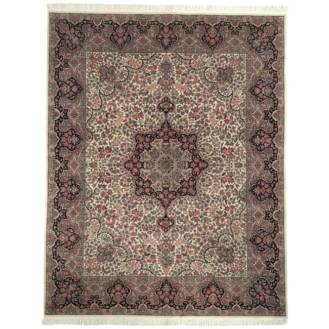 Asian Hand-knotted Royal Kerman Ivory and Navy Wool Rug (6' x 9')