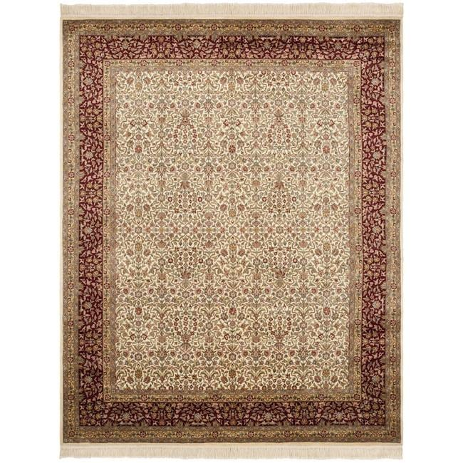 Asian Hand-knotted Royal Kerman Ivory and Red Wool Rug (6' x 9') - Thumbnail 0
