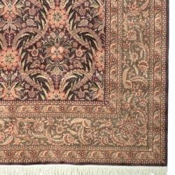 Asian Hand-knotted Royal Kerman Purple and Green Wool Rug (8' x 10')