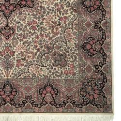 Asian Hand-knotted Royal Kerman Ivory and Navy Wool Rug (9' x 12') - Thumbnail 1