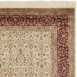 Asian Hand-knotted Royal Kerman Ivory and Red Wool Rug (6' x 9')