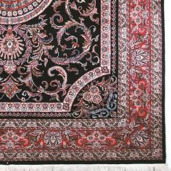 Asian Hand-knotted Royal Kerman Black and Red Wool Rug (9' x 12') - Thumbnail 1