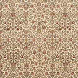 Asian Hand-knotted Royal Kerman Ivory and Red Wool Rug (6' x 9') - Thumbnail 2