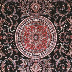 Asian Hand-knotted Royal Kerman Black and Red Wool Rug (9' x 12') - Thumbnail 2