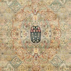 Asian Hand-knotted Royal Kerman Multicolor Wool Rug (9' x 12') - Thumbnail 2