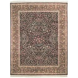 Asian Hand-knotted Royal Kerman Black and Red Traditional Oriental Wool Rug (9' x 12')