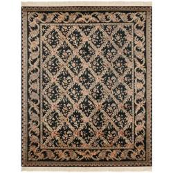 Asian Hand-knotted Royal Kerman Black Wool Rug (9' x 12')