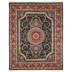 Asian Hand-Knotted Royal Kerman Green-and-Red Wool Area Rug (8' x 10')