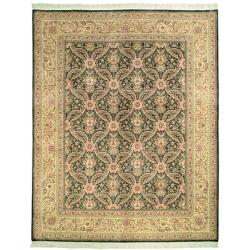 Asian Hand-knotted Royal Kerman Green and Ivory Wool Rug (9' x 12')