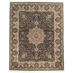 Asian Hand-Knotted Royal Kerman Black and Ivory Wool Area Rug (6' x 9')
