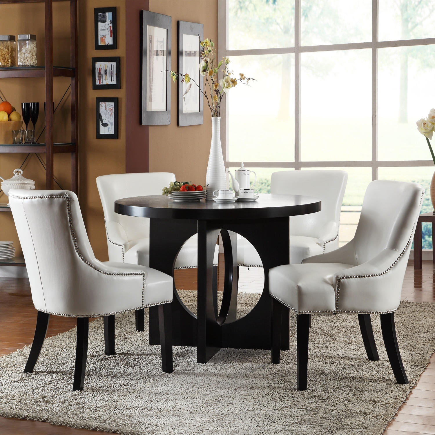 White Leather Dining Room Set: Westmont 5-piece White Faux Leather Dining Set
