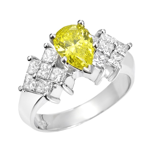 14k White Gold 1 7/8ct TDW Yellow and White Diamond Ring (H-I, SI1-SI2)