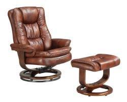 SoHo Bordeaux Finish European Chair and Ottoman