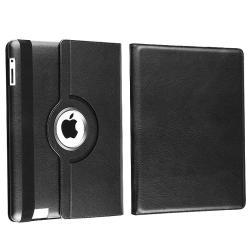 Black Swivel Leather Case for Apple iPad 2
