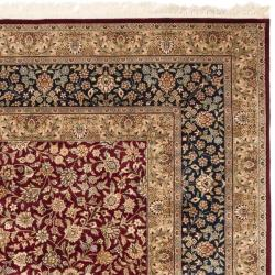 Asian Hand-knotted Royal Kerman Red and Blue Wool Rug (6' x 9') - Thumbnail 1