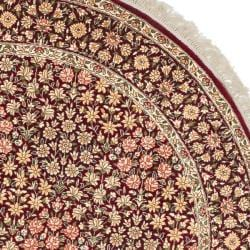 Asian Hand-knotted Royal Kerman Red Wool Rug (6' Round)
