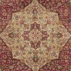 Asian Hand-knotted Royal Kerman Red/ Ivory Wool Rug (6' x 9') - Thumbnail 2