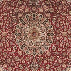 Asian Hand-knotted Royal Kerman Red and Blue Wool Rug (4' x 6') - Thumbnail 2