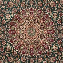 Asian Hand-knotted Royal Kerman Green and Red Wool Rug (8' x 10')