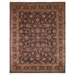 Asian Hand-knotted Royal Kerman Purple Wool Rug (6' x 9')