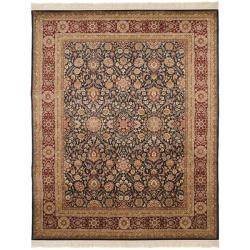 Asian Hand-knotted Royal Kerman Blue and Red Wool Rug (6' x 9')