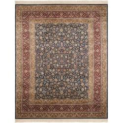 Asian Hand-Knotted Royal Kerman Blue and Red Traditional Wool Rug (8' x 10')