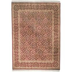 Asian Hand-knotted Royal Kerman Red Wool Rug (6' x 9')