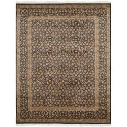 Asian Hand-knotted Royal Kerman Blue Wool Rug (6' x 9')