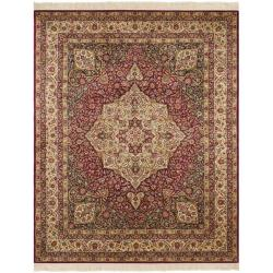 Asian Hand-knotted Royal Kerman Red Ivory Wool Rug (6' x 9')