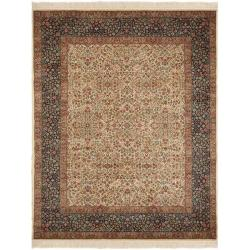Asian Hand-knotted Royal Kerman Ivory and Blue Wool Rug (6' x 9')