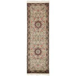 Asian Hand-knotted Royal Kerman Ivory and Navy Wool Rug (2'6 x 12')