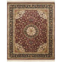 Asian Hand-knotted Royal Kerman Red and Black Wool Rug (9' x 12')