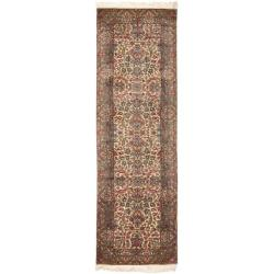 Asian Hand-knotted Royal Kerman Ivory Wool Runner (2'6 x 12')