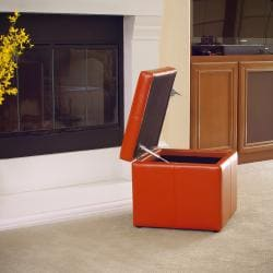 Square Orange Cube Storage Ottoman By Christopher Knight