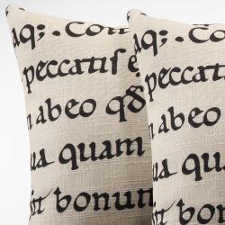 Linen 18-inch Linen Latin Script Throw Pillows (Set of 2) - Thumbnail 1