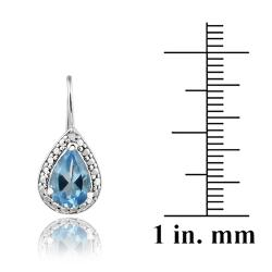 Glitzy Rocks Sterling Silver Swiss Blue Topaz and Diamond Accent Earrings - Thumbnail 2