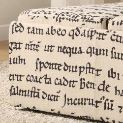 Decor Storage Latin Script Linen Ottoman - Thumbnail 1